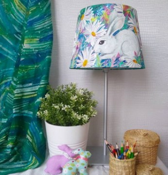 rABBITS_lampshade_batik_art_handpaited_silk